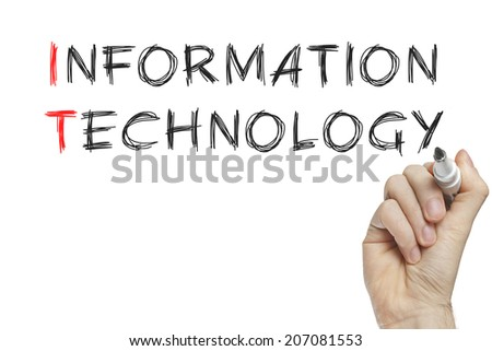 Hand writing information technology on a white board