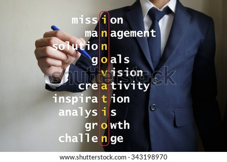 hand writing innovation puzzle words crossword, business idea , business concept - stock photo