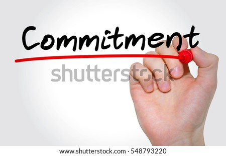 "Hand writing inscription ""Commitment"" with marker, concept"