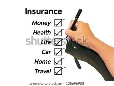 Hand writing insurance concept