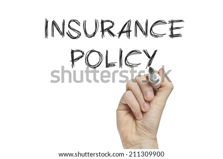 Hand writing insurance policy on a white board