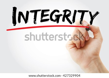 Hand writing Integrity with marker, business concept - stock photo