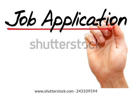 Hand writing Job Application with marker, business concept - stock photo