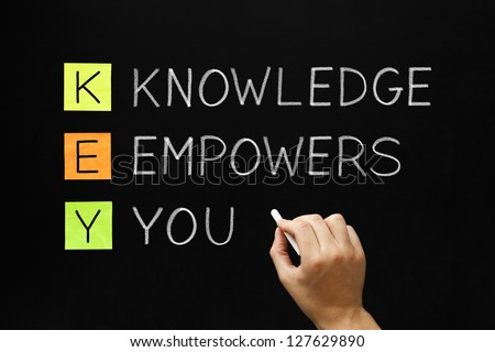 Hand writing Knowledge Empowers You with white chalk on blackboard. - stock photo