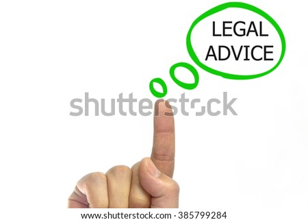 hand writing legal advice on a transparent wipe board. isolated on white background