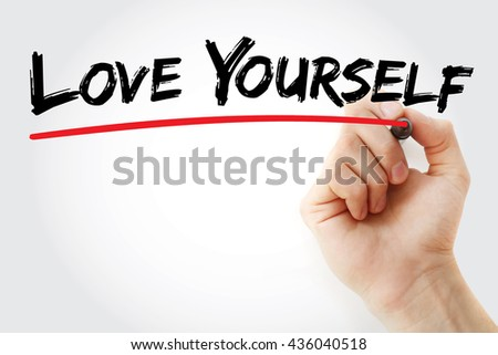 Hand writing Love Yourself with marker, love concept - stock photo
