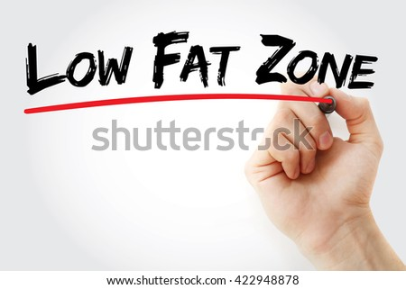 Hand writing Low Fat Zone with marker, health concept background - stock photo