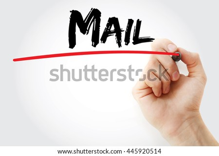 Hand writing Mail with marker, concept background - stock photo