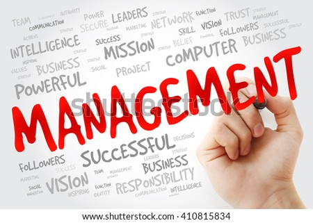 Hand writing MANAGEMENT with marker, business concept background - stock photo
