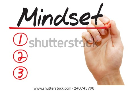 Hand writing Mindset List with red marker, business concept - stock photo