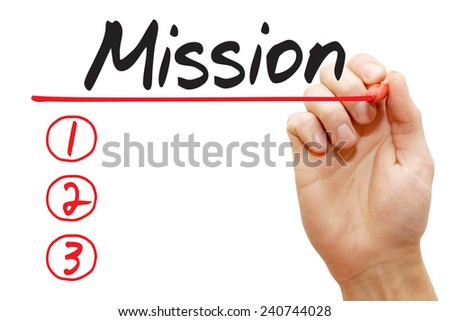 Hand writing Mission List with red marker, business concept - stock photo