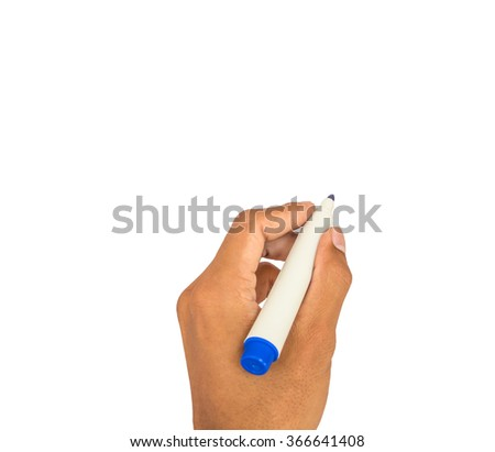 hand writing motion white isolated - stock photo