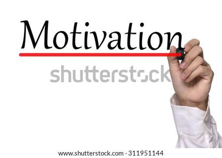 Hand writing motivation workshop over white - stock photo