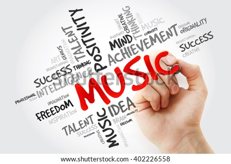 Hand writing Music with marker, word cloud concept - stock photo