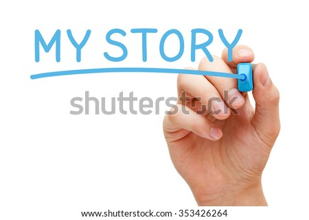 Hand writing My Story with blue marker on transparent wipe board.