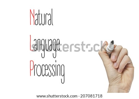 Hand writing natural language processing on a white board - stock photo