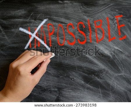 Hand writing on a blackboard Possible - stock photo