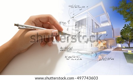 Hand writing on a luxurious villa 3D design