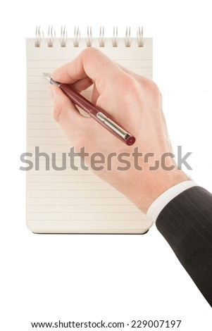 Hand writing on an empty journal binder (notepad or notebook) isolated on white