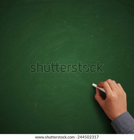 Hand writing on blank green chalkboard or background.