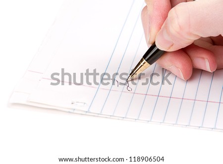 Hand writing on lined paper - stock photo