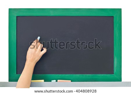 hand writing on the chalkboard