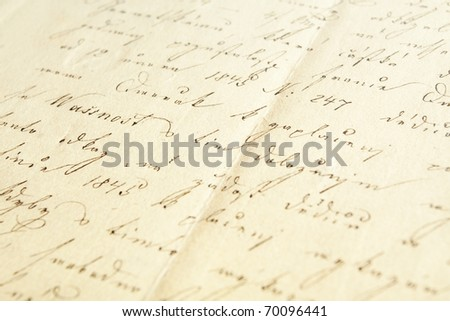 Hand writing on very old paper