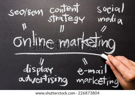 Hand writing Online Marketing concept with chalk