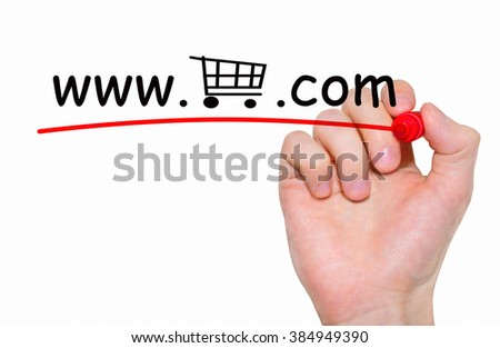 """Hand writing """"Online Shopping"""" with red marker on transparent wipe board,concept - stock photo"""