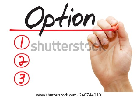 Hand writing Option List with red marker, business concept - stock photo
