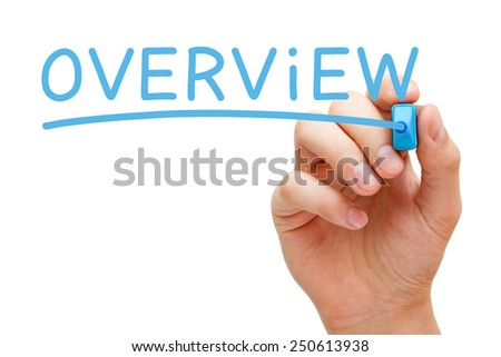 Hand writing Overview with blue marker on transparent wipe board. - stock photo
