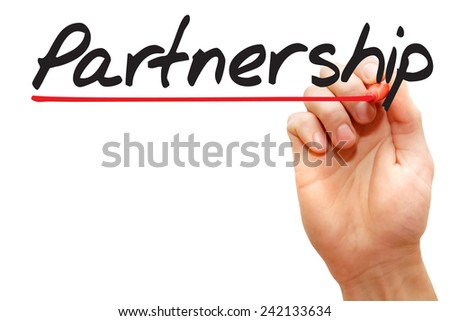 Hand writing Partnership with red marker, business concept - stock photo
