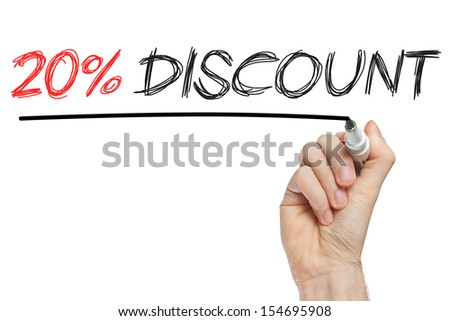 Hand writing 20 percent discount on whiteboard isolated - stock photo