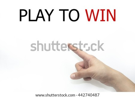 Hand writing play to win with blue marker on transparent wipe board