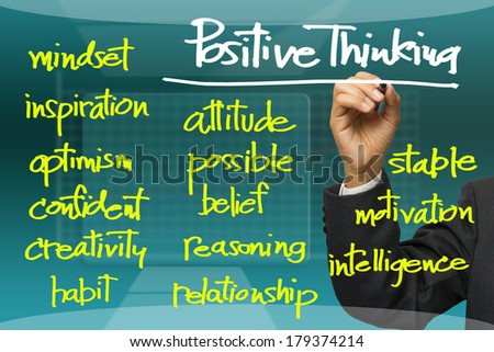 Hand writing Positive thinking concept on screen - stock photo