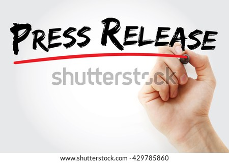 Hand writing Press Release, business concept - stock photo