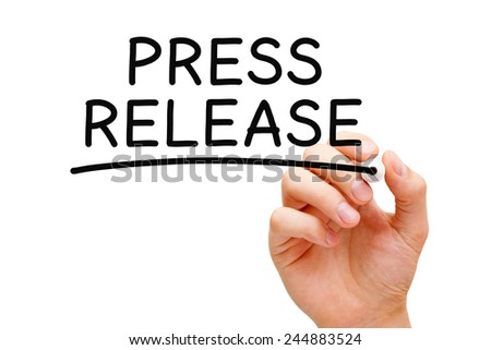 Hand writing Press Release with black marker on transparent wipe board isolated on white. - stock photo