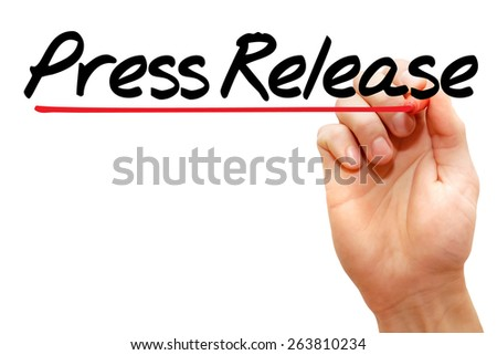 Hand writing Press Release with marker, business concept - stock photo