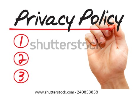 Hand writing Privacy Policy List with marker, business concept - stock photo