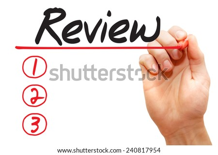 Hand writing Review List with red marker, business concept - stock photo