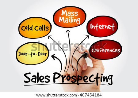 Hand writing Sales prospecting activities mind map flowchart business concept for presentations and reports - stock photo