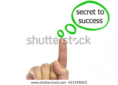 hand writing secret to success talking balloon on a transparent wipe board.