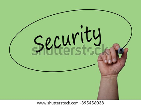 Hand writing SECURITY with Marker on  visual screen, board. Life, Security, Terrorism, Attack concept design.