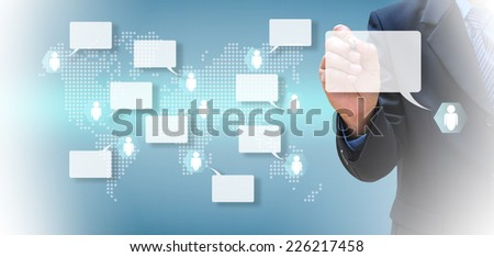 hand writing social network on a touch screen interface  - stock photo