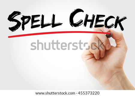 Hand writing Spell Check with marker, concept background - stock photo