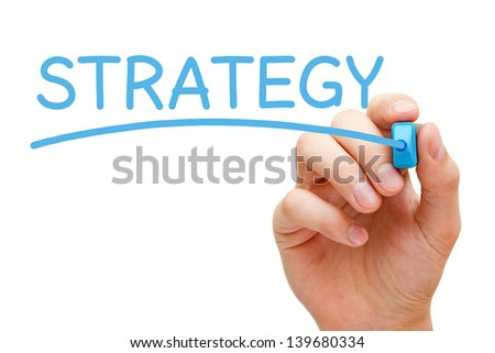 Hand writing Strategy with blue marker on transparent wipe board. - stock photo