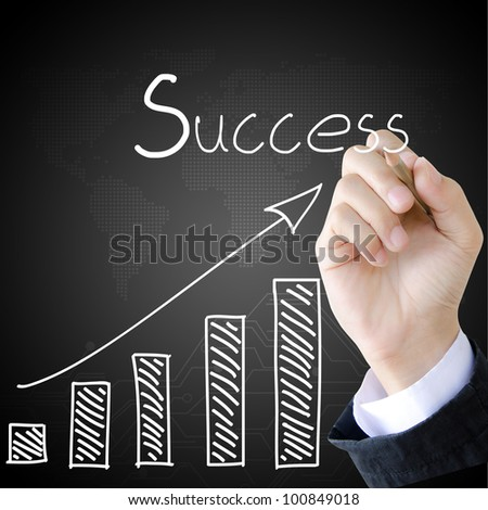hand writing Success word and graph - stock photo