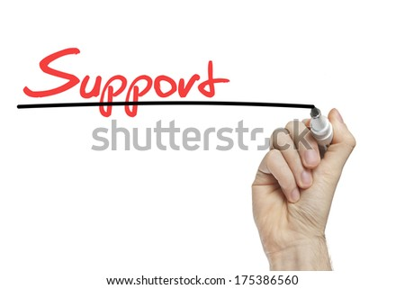 Hand writing support on a white board - customer support concept - stock photo