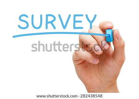 Hand writing Survey with blue marker on transparent wipe board. - stock photo