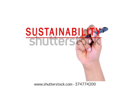 Hand writing sustainability with marker on transparent wipe board. - stock photo